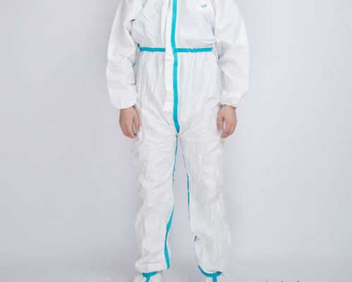 Medical Disposable Protective Suit Flame Retardant With Blue Tape CE Listed