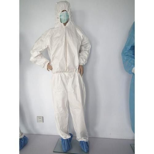 Hospital / Medical Isolation Gowns High Breathability White / Blue Color supplier